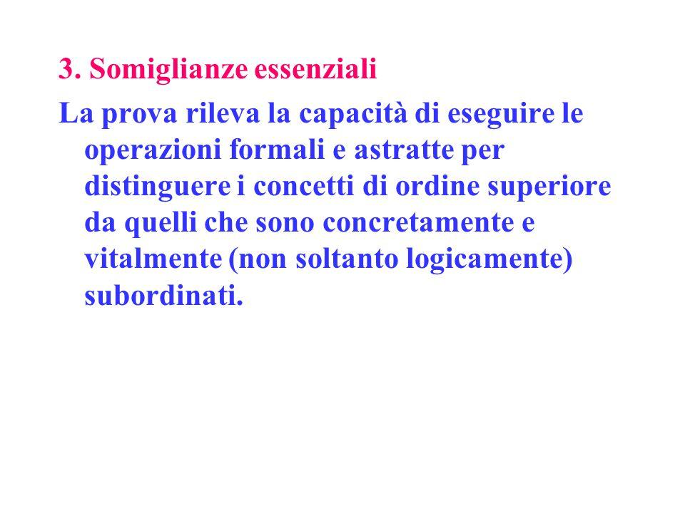 3. Somiglianze essenziali La prova rileva la capacità di eseguire le operazioni formali e astratte per distinguere i concetti di ordine superiore da q
