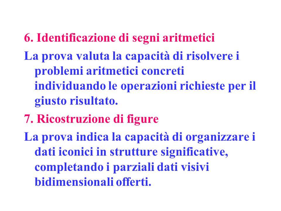 6. Identificazione di segni aritmetici La prova valuta la capacità di risolvere i problemi aritmetici concreti individuando le operazioni richieste pe