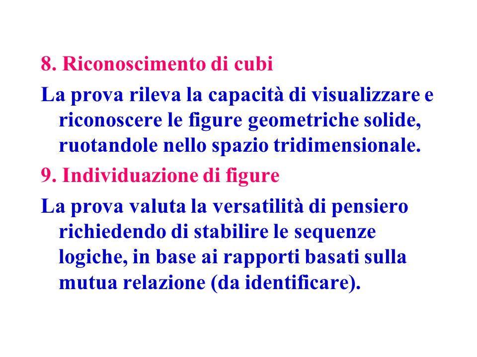 8. Riconoscimento di cubi La prova rileva la capacità di visualizzare e riconoscere le figure geometriche solide, ruotandole nello spazio tridimension