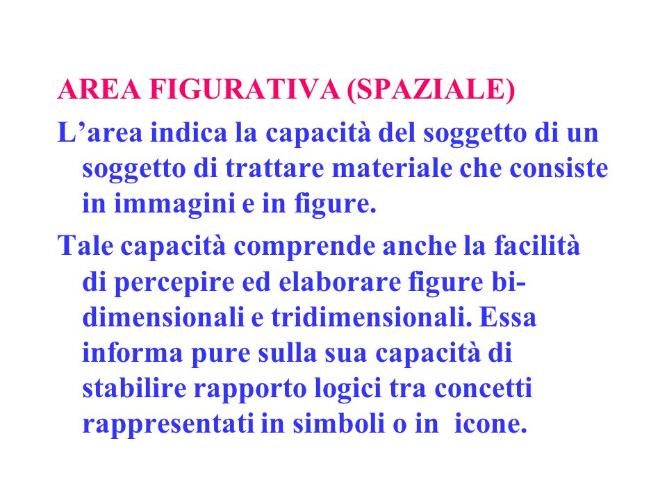 AREA FIGURATIVA (SPAZIALE) L'area indica la capacità del soggetto di un soggetto di trattare materiale che consiste in immagini e in figure. Tale capa