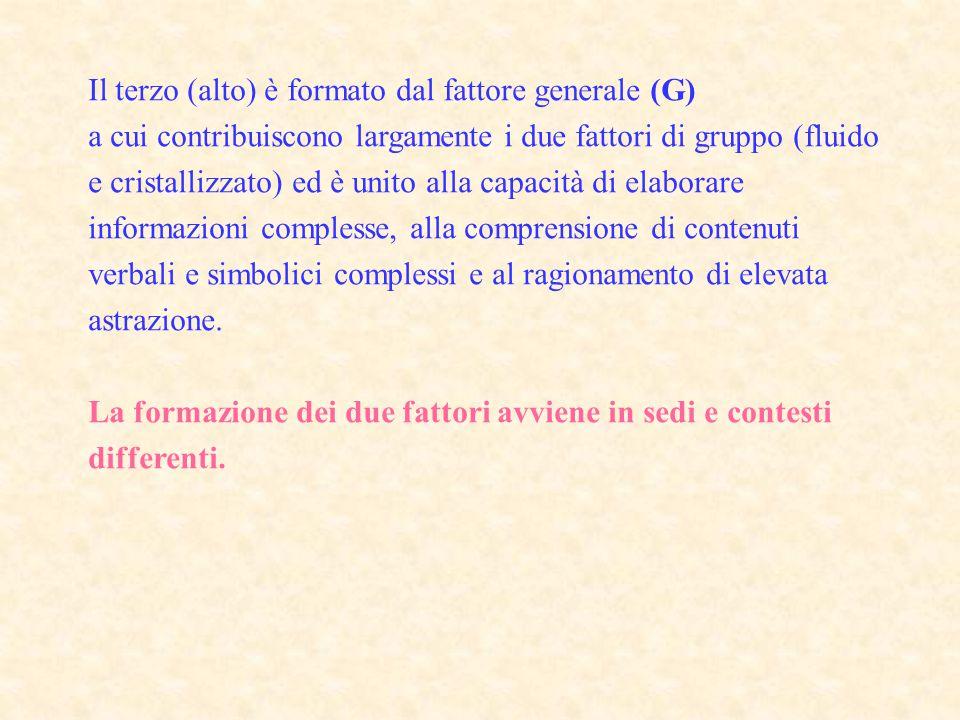Il terzo (alto) è formato dal fattore generale (G) a cui contribuiscono largamente i due fattori di gruppo (fluido e cristallizzato) ed è unito alla c
