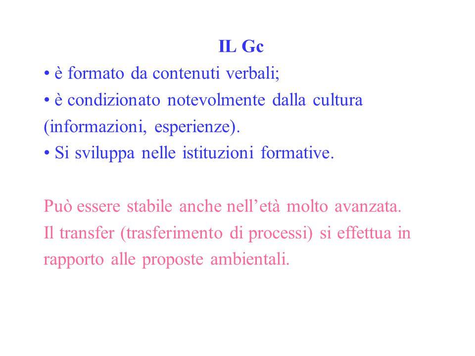 IL Gc è formato da contenuti verbali; è condizionato notevolmente dalla cultura (informazioni, esperienze). Si sviluppa nelle istituzioni formative. P