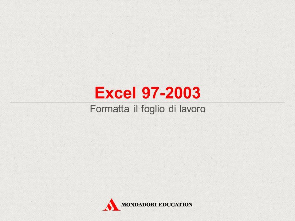 Excel 97-2003 Formatta il foglio di lavoro