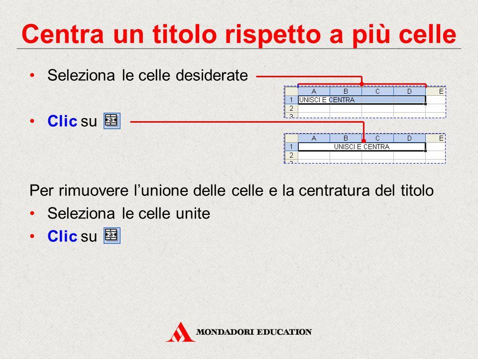 Centra un titolo rispetto a più celle Seleziona le celle desiderate Clic su Per rimuovere l'unione delle celle e la centratura del titolo Seleziona le celle unite Clic su