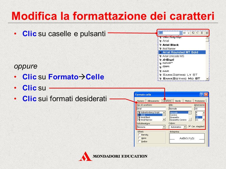 Modifica la formattazione dei caratteri Clic su caselle e pulsanti oppure Clic su Formato  Celle Clic su Clic sui formati desiderati