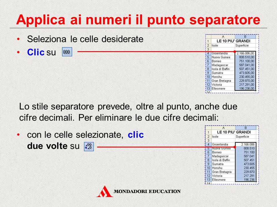 Applica ai numeri il punto separatore Seleziona le celle desiderate Clic su Lo stile separatore prevede, oltre al punto, anche due cifre decimali.
