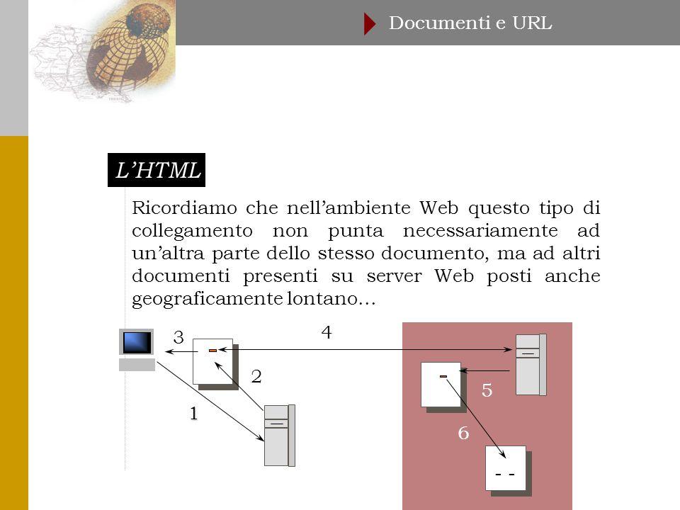 L'HTML Documenti e URL  Ricordiamo che nell'ambiente Web questo tipo di collegamento non punta necessariamente ad un'altra parte dello stesso documento, ma ad altri documenti presenti su server Web posti anche geograficamente lontano...