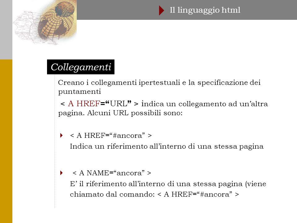 Collegamenti Il linguaggio html  Creano i collegamenti ipertestuali e la specificazione dei puntamenti i ndica un collegamento ad un'altra pagina.