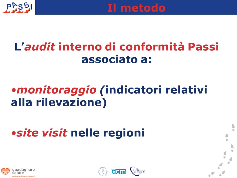 L'audit interno di conformità Passi associato a: monitoraggio (indicatori relativi alla rilevazione) site visit nelle regioni Il metodo