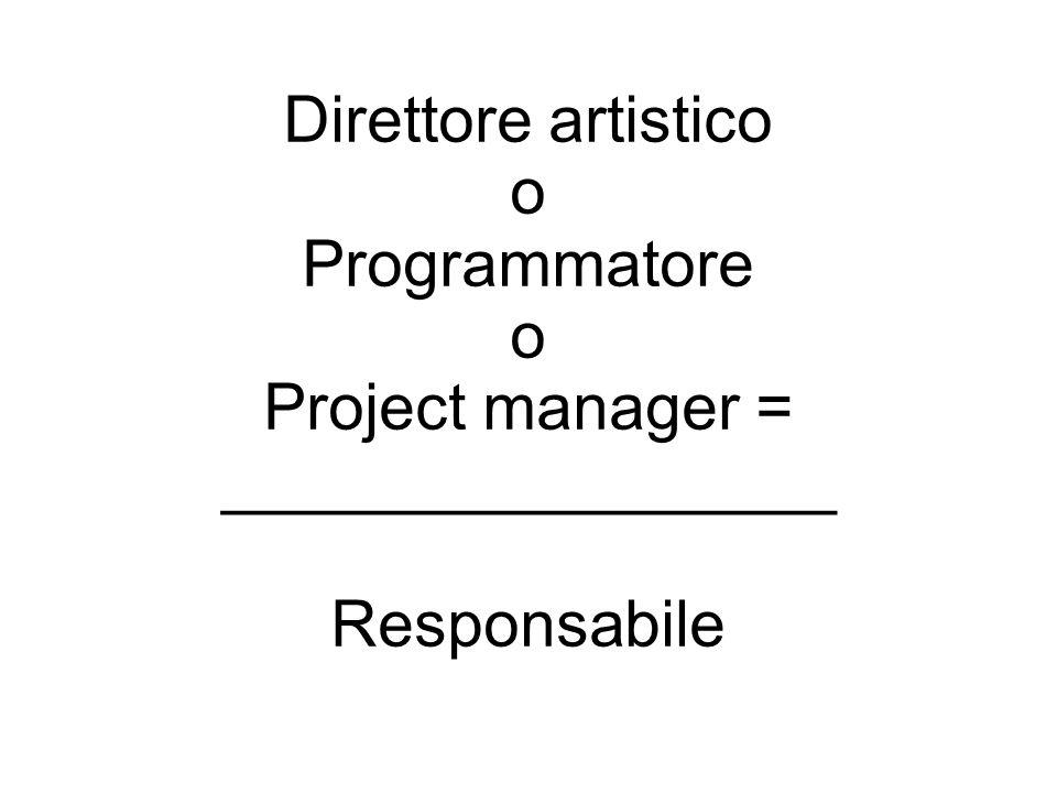 Direttore artistico o Programmatore o Project manager = _________________ Responsabile