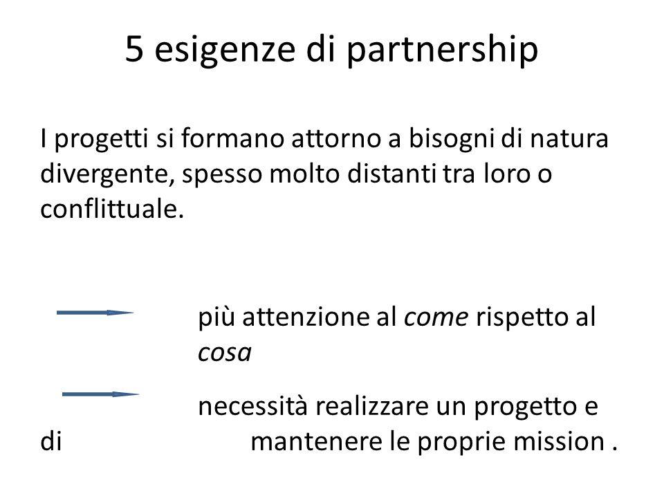 5 esigenze di partnership I progetti si formano attorno a bisogni di natura divergente, spesso molto distanti tra loro o conflittuale.