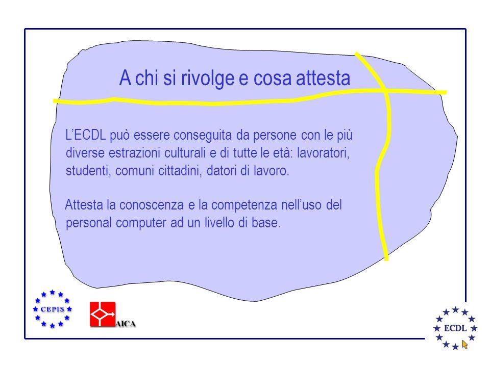A chi si rivolge e cosa attesta L'ECDL può essere conseguita da persone con le più diverse estrazioni culturali e di tutte le età: lavoratori, studenti, comuni cittadini, datori di lavoro.