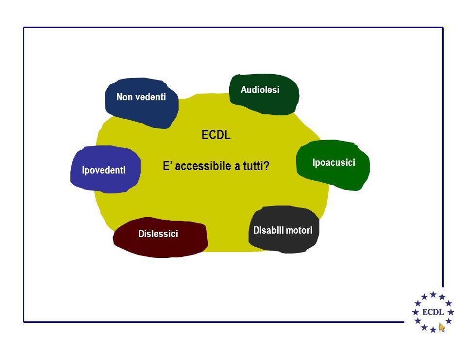 ECDL E' accessibile a tutti? Dislessici Audiolesi Disabili motori Non vedenti Ipovedenti Ipoacusici