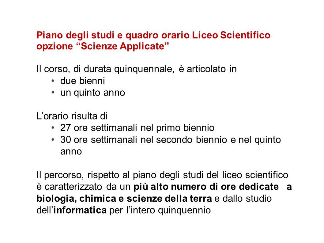 """Piano degli studi e quadro orario Liceo Scientifico opzione """"Scienze Applicate"""" Il corso, di durata quinquennale, è articolato in due bienni un quinto"""