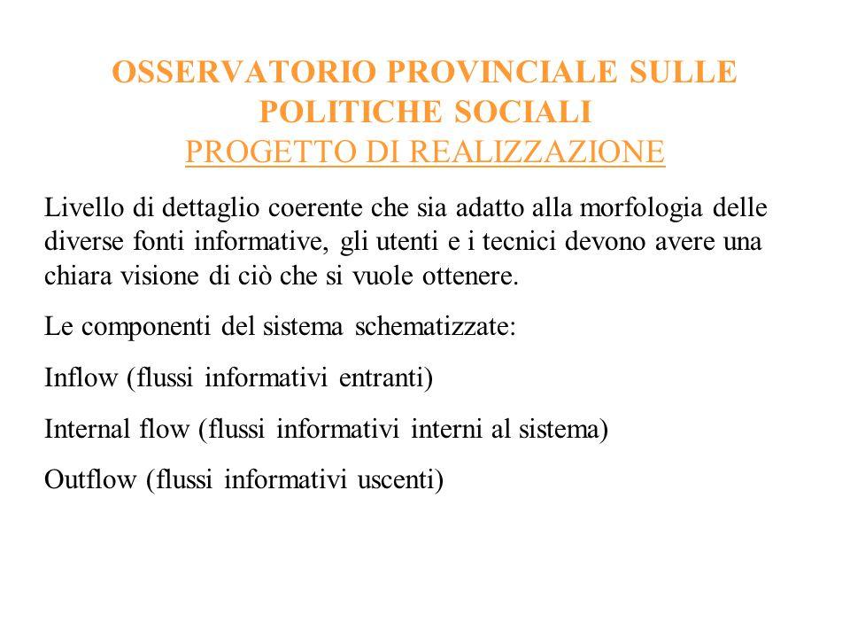 OSSERVATORIO PROVINCIALE SULLE POLITICHE SOCIALI PROGETTO DI REALIZZAZIONE Outflow (flussi informativi uscenti) parliamo di flussi informativi a geometria variabile (anche statistici).