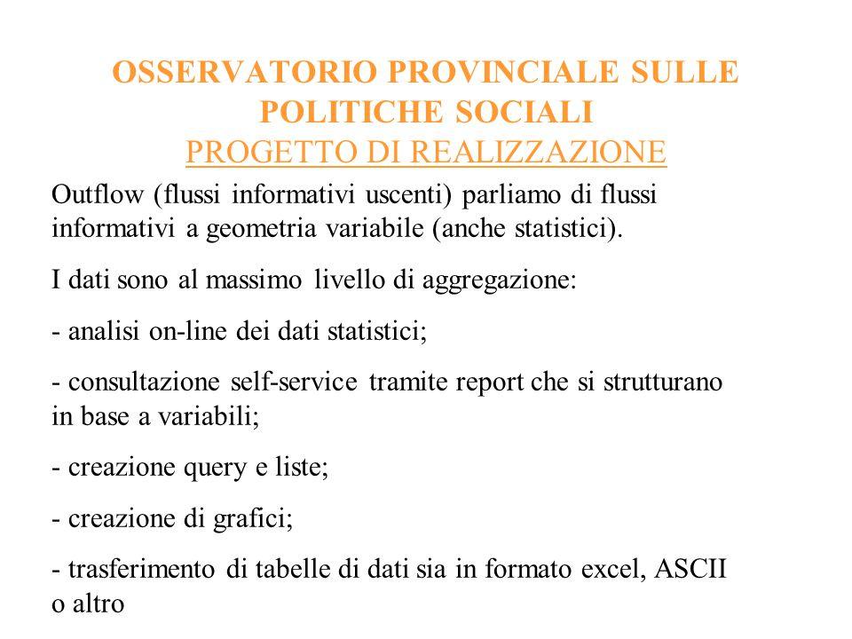OSSERVATORIO PROVINCIALE SULLE POLITICHE SOCIALI PROGETTO DI REALIZZAZIONE Fabbisogni informativi e fabbisogni statistici: - dati; - aggregazioni; - elaborazioni statistiche.