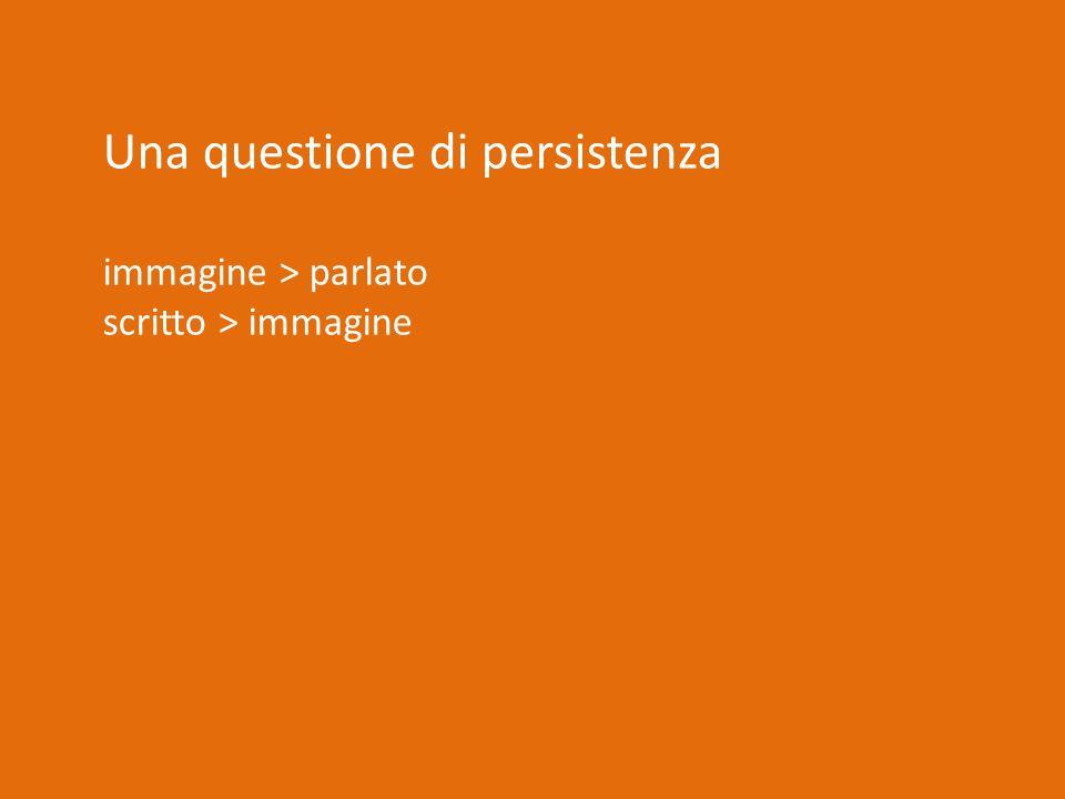Una questione di persistenza immagine > parlato scritto > immagine