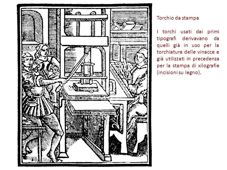 Torchio da stampa I torchi usati dai primi tipografi derivavano da quelli già in uso per la torchiatura delle vinacce e già utilizzati in precedenza per la stampa di xilografie (incisioni su legno).