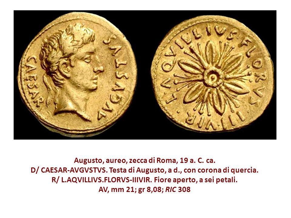 Augusto, aureo, zecca di Roma, 19 a.C. ca. D/ CAESAR-AVGVSTVS.