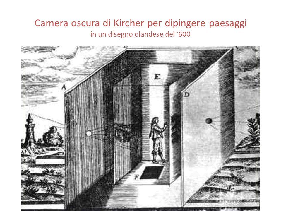 Camera oscura di Kircher per dipingere paesaggi in un disegno olandese del ' 600