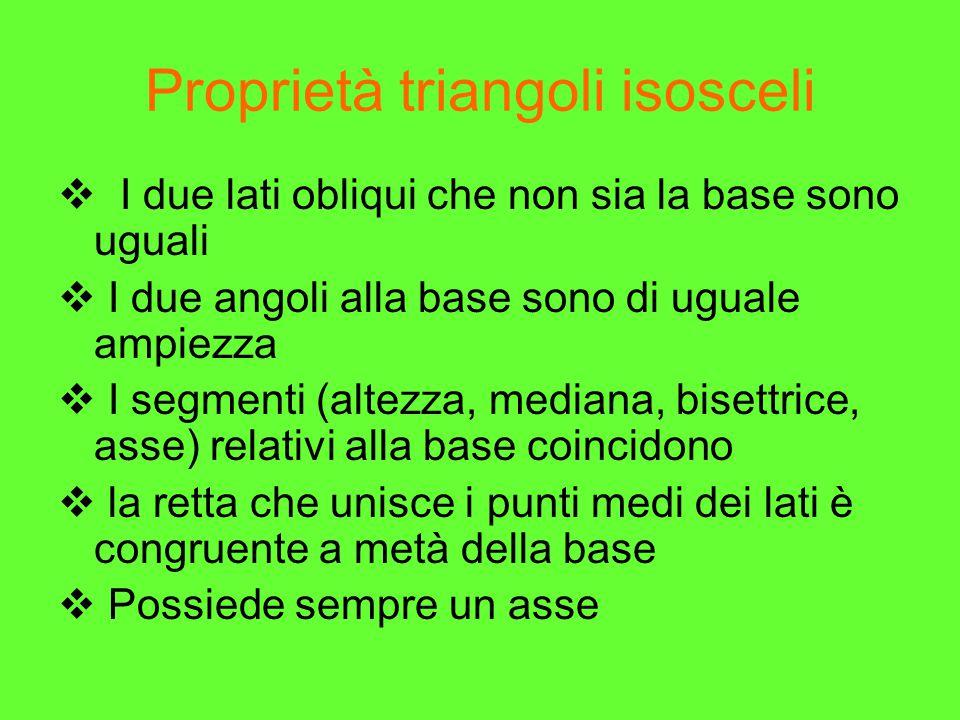 Proprietà triangoli isosceli  I due lati obliqui che non sia la base sono uguali  I due angoli alla base sono di uguale ampiezza  I segmenti (altez