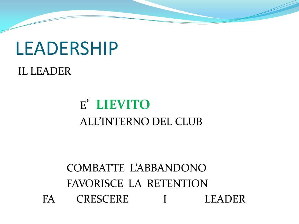 LEADERSHIP IL LEADER E ' LIEVITO ALL'INTERNO DEL CLUB COMBATTE L'ABBANDONO FAVORISCE LA RETENTION FA CRESCERE I LEADER