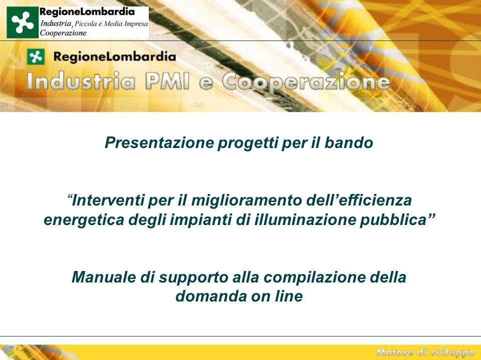 Presentazione progetti per il bando Interventi per il miglioramento dell'efficienza energetica degli impianti di illuminazione pubblica Manuale di supporto alla compilazione della domanda on line