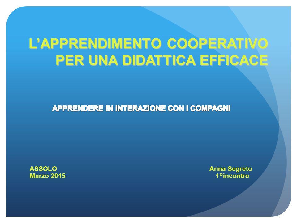 L'APPRENDIMENTO COOPERATIVO PER UNA DIDATTICA EFFICACE ASSOLO Anna Segreto Marzo 2015 1°incontro