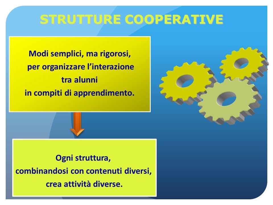 STRUTTURE COOPERATIVE Modi semplici, ma rigorosi, per organizzare l'interazione tra alunni in compiti di apprendimento. Ogni struttura, combinandosi c