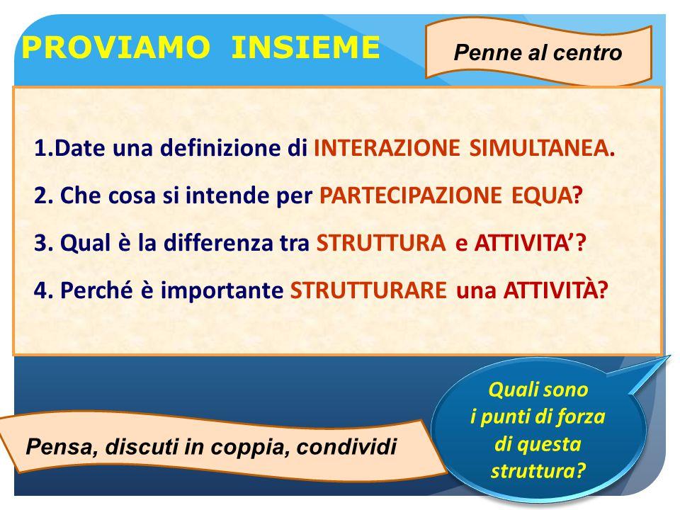 Penne al centro 1.Date una definizione di INTERAZIONE SIMULTANEA. 2. Che cosa si intende per PARTECIPAZIONE EQUA? 3. Qual è la differenza tra STRUTTUR