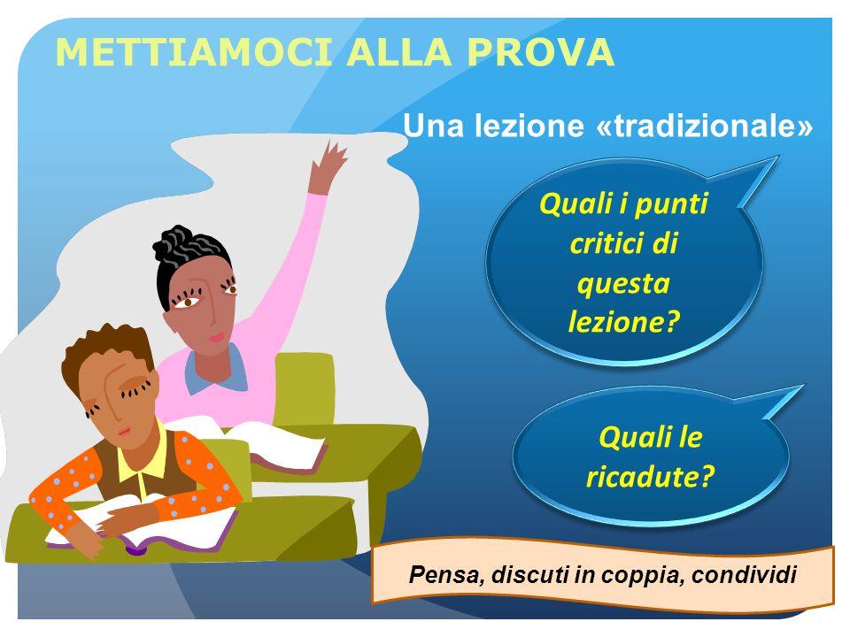 METTIAMOCI ALLA PROVA Una lezione «tradizionale» Quali i punti critici di questa lezione? Pensa, discuti in coppia, condividi Quali le ricadute?