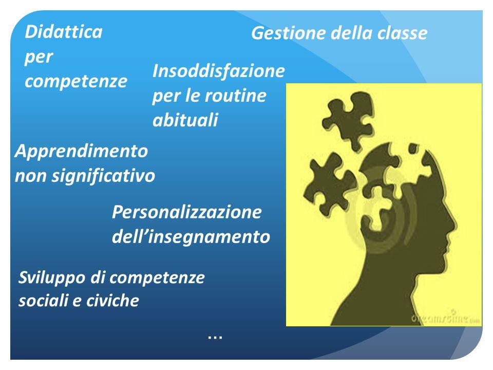 Gestione della classe Didattica per competenze Apprendimento non significativo Insoddisfazione per le routine abituali Personalizzazione dell'insegnam