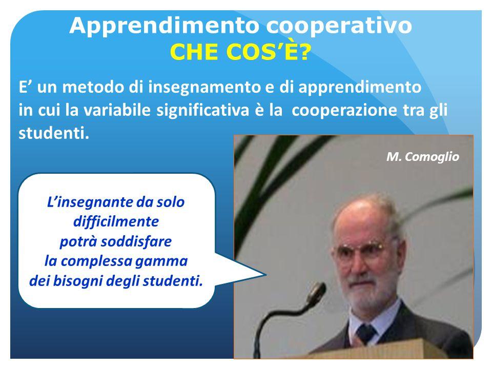 E' un metodo di insegnamento e di apprendimento in cui la variabile significativa è la cooperazione tra gli studenti. Apprendimento cooperativo CHE CO