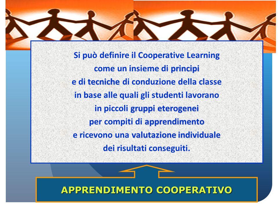 APPRENDIMENTO COOPERATIVO Si può definire il Cooperative Learning principi come un insieme di principi tecniche e di tecniche di conduzione della clas