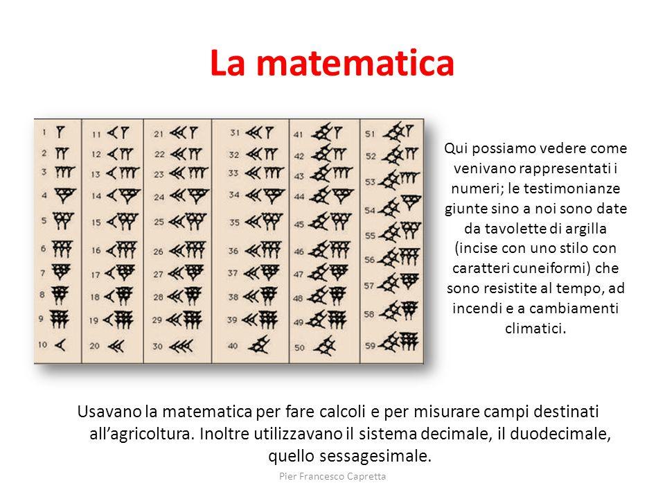 La matematica Usavano la matematica per fare calcoli e per misurare campi destinati all'agricoltura. Inoltre utilizzavano il sistema decimale, il duod