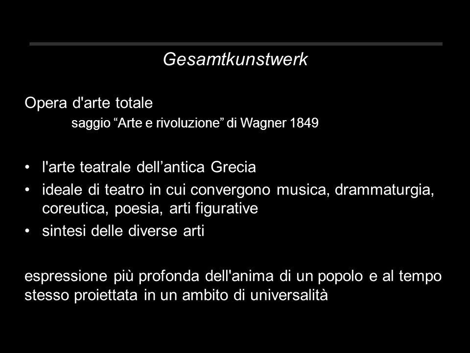 Gesamtkunstwerk Opera d arte totale saggio Arte e rivoluzione di Wagner 1849 l arte teatrale dell'antica Grecia ideale di teatro in cui convergono musica, drammaturgia, coreutica, poesia, arti figurative sintesi delle diverse arti espressione più profonda dell anima di un popolo e al tempo stesso proiettata in un ambito di universalità
