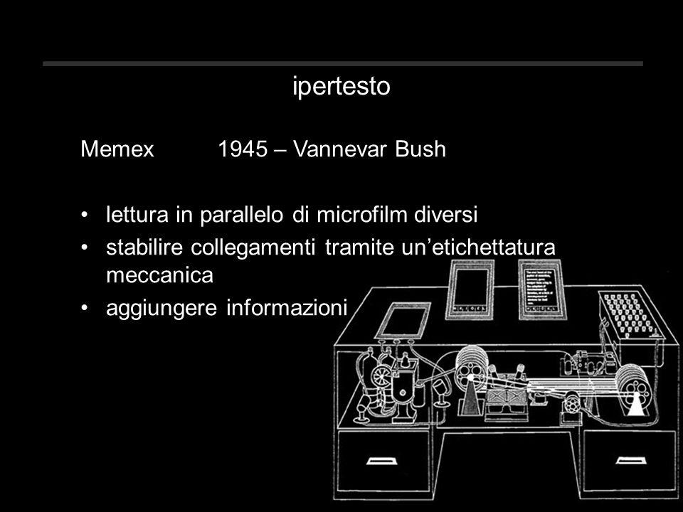 ipertesto Memex1945 – Vannevar Bush lettura in parallelo di microfilm diversi stabilire collegamenti tramite un'etichettatura meccanica aggiungere informazioni