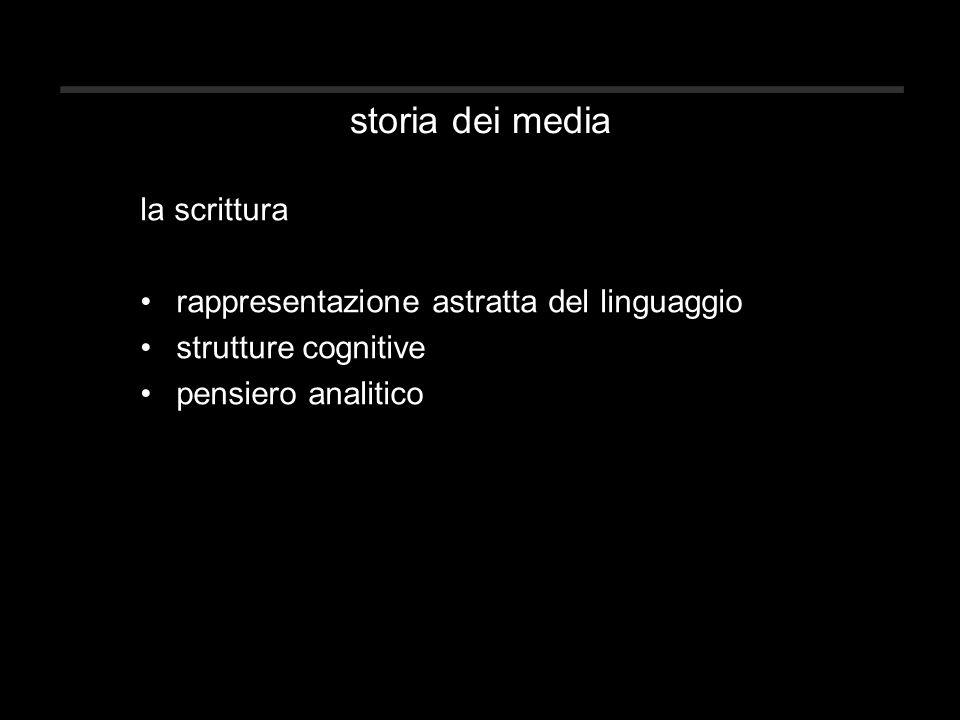 storia dei media la scrittura rappresentazione astratta del linguaggio strutture cognitive pensiero analitico