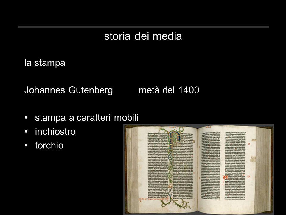 storia dei media la stampa Johannes Gutenberg metà del 1400 stampa a caratteri mobili inchiostro torchio
