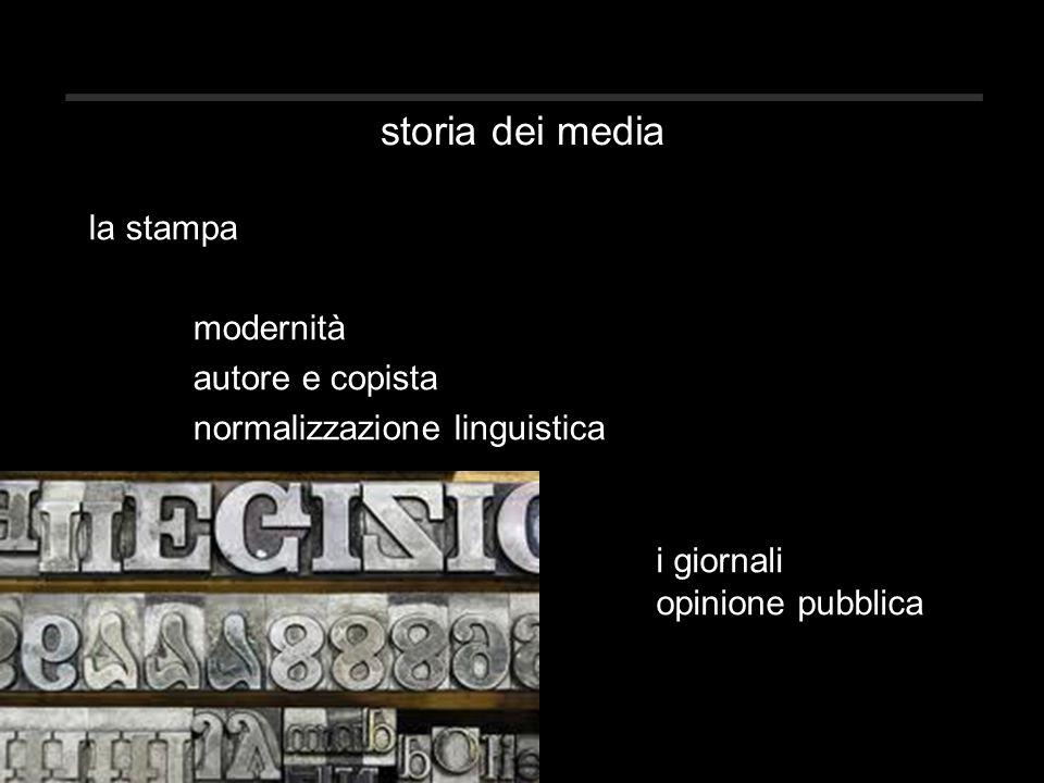 storia dei media la stampa modernità autore e copista normalizzazione linguistica i giornali opinione pubblica