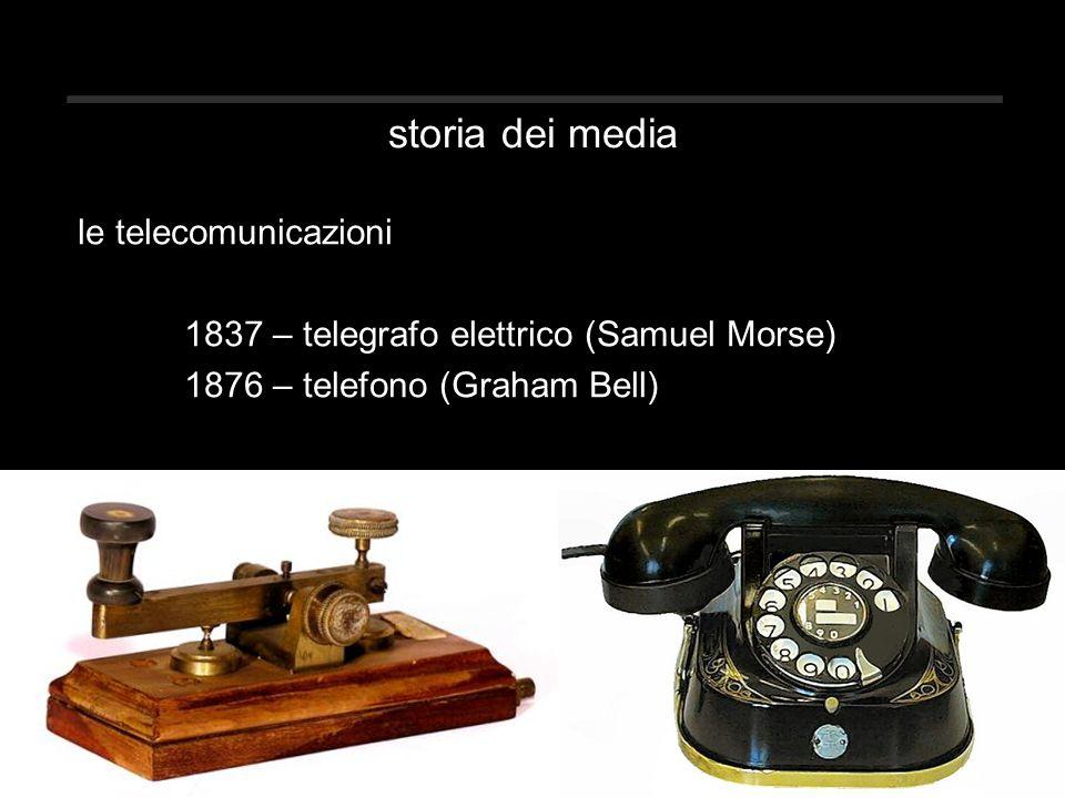 storia dei media le telecomunicazioni 1837 – telegrafo elettrico (Samuel Morse) 1876 – telefono (Graham Bell)