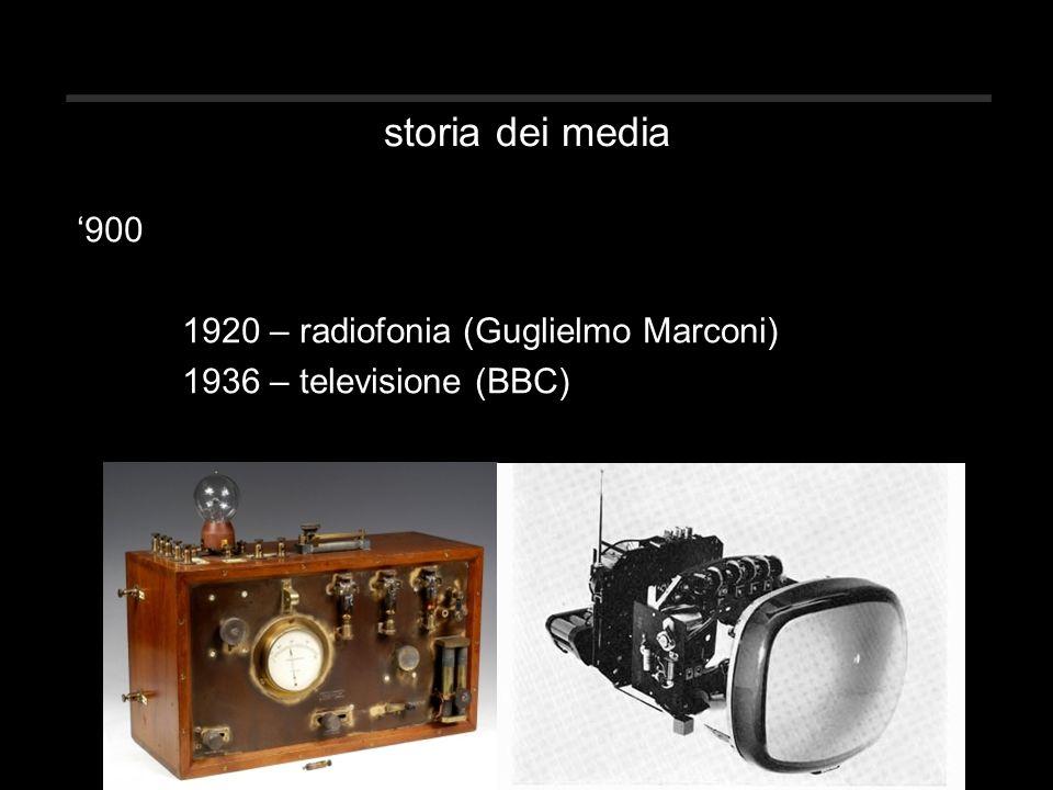 storia dei media '900 1920 – radiofonia (Guglielmo Marconi) 1936 – televisione (BBC)