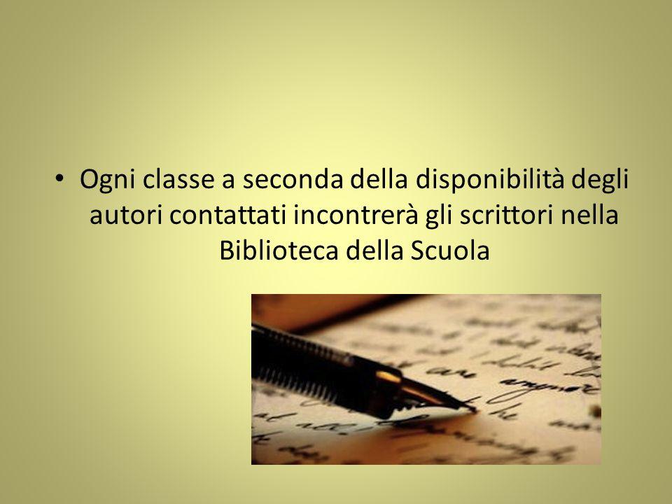 Ogni classe a seconda della disponibilità degli autori contattati incontrerà gli scrittori nella Biblioteca della Scuola