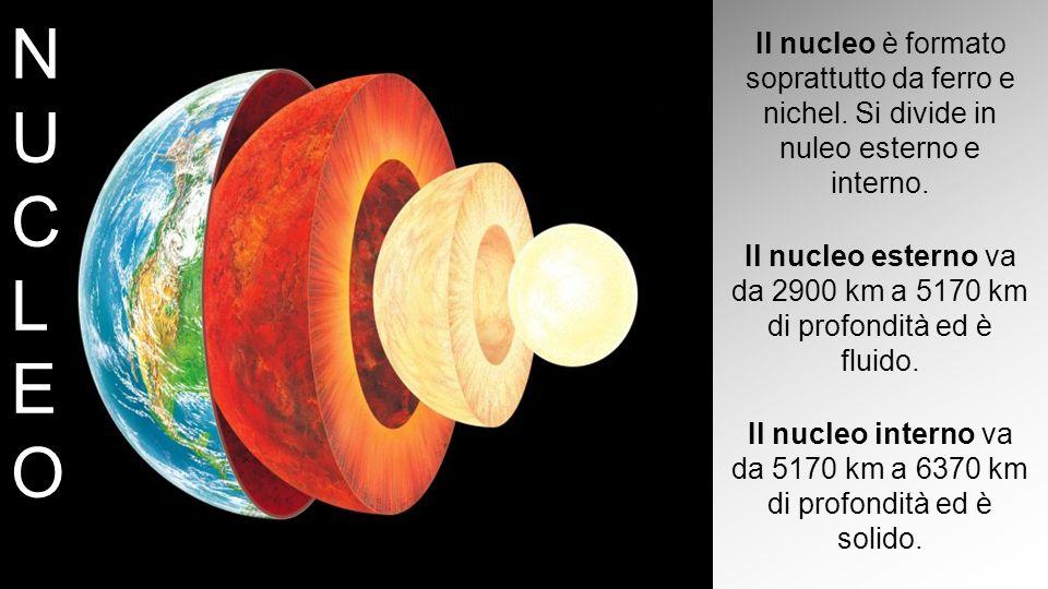 NUCLEONUCLEO Il nucleo è formato soprattutto da ferro e nichel. Si divide in nuleo esterno e interno. Il nucleo esterno va da 2900 km a 5170 km di pro