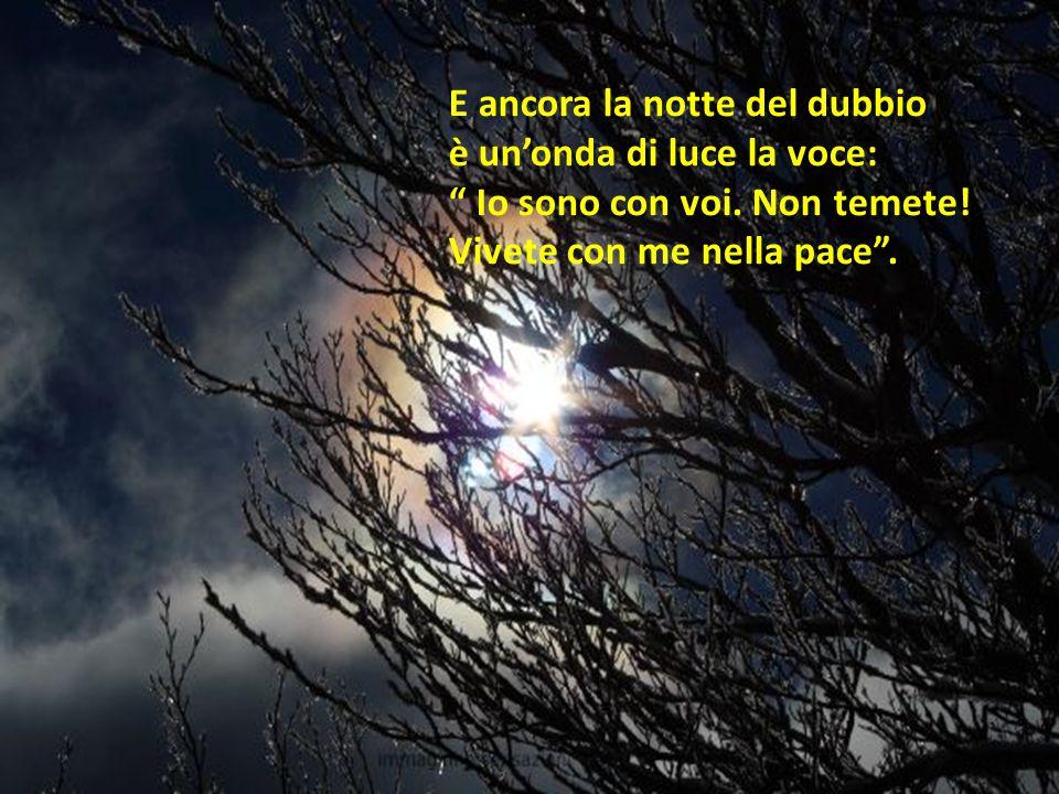 E ancora la notte del dubbio è un'onda di luce la voce: Io sono con voi.