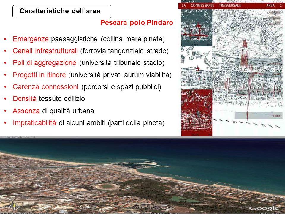 Caratteristiche dell'area Emergenze paesaggistiche (collina mare pineta) Canali infrastrutturali (ferrovia tangenziale strade) Poli di aggregazione (u