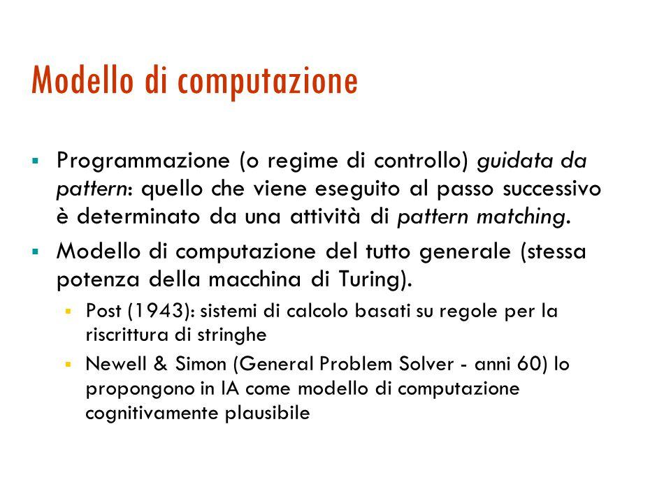 Sistemi di produzione/a regole  Uno dei primi paradigmi di rappresentazione della conoscenza (di sapore procedurale ) in I.A.