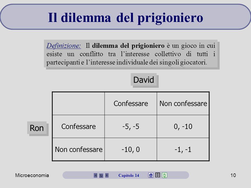 Microeconomia10 Il dilemma del prigioniero Definizione: Il dilemma del prigioniero è un gioco in cui esiste un conflitto tra l'interesse collettivo di