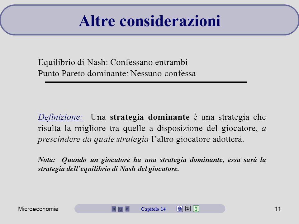 Microeconomia11 Altre considerazioni Equilibrio di Nash: Confessano entrambi Punto Pareto dominante: Nessuno confessa Definizione: Una strategia domin
