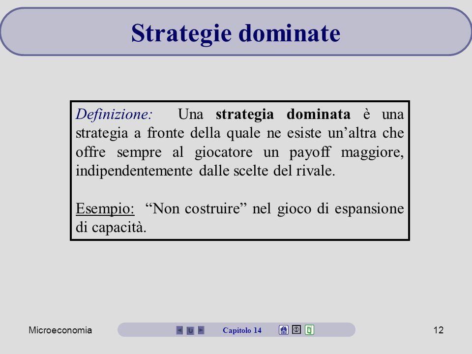 Microeconomia12 Strategie dominate Definizione: Una strategia dominata è una strategia a fronte della quale ne esiste un'altra che offre sempre al gio